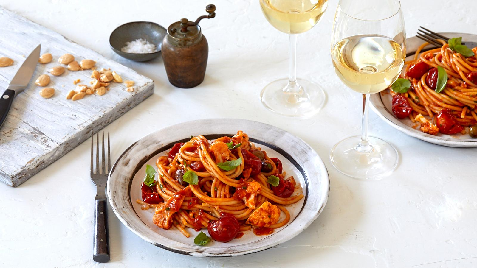 Red Sauce Pasta with a Sicilian White