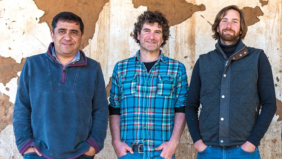 From left: De Martino winemaker Marcelo Retamal, along with owners Marco and Sebastián De Martino, crafted a pair of outstanding white wines from Chardonnay grown in the Malleco and Limarí valleys.