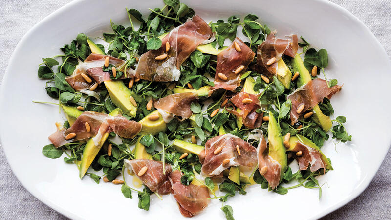 Pinkerton Avocados with Pea Shoots, Toasted Pine Nuts & Prosciutto