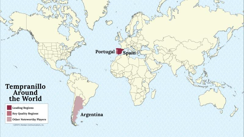 A map of the world with Spain, Portugal and Argentina highlighted