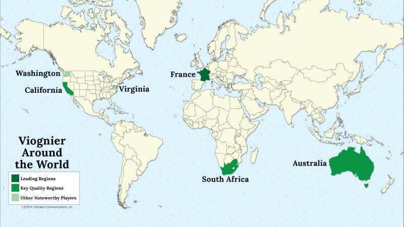 A map of the world with France, California, Australia, South Africa, Washington and Virginia highlighed