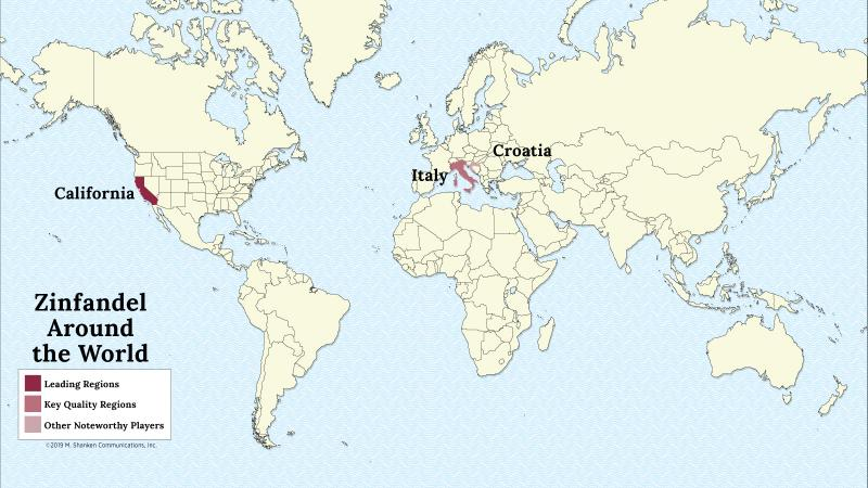 A map of the world with California, Italy and Croatia highlighed